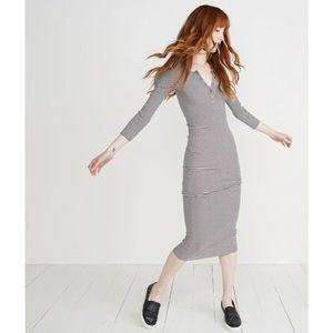 Marine Layer Hannah Midi Dress Striped Minimalist